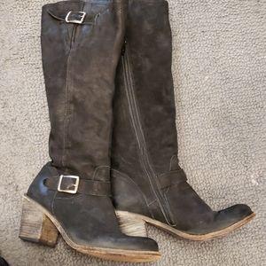 STEVEN MADDEN Black Suede Boots Size 6.5